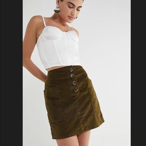 BDG Kendri Uncut Corduroy Mini Skirt Green